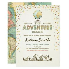 Adventure begins Baby shower invitation Globe map ♥ A cute and fun baby shower invite for your little one on the way! With an adventure / travel theme. Fun baby shower invites - customize your invitations. Custom Baby Shower Invitations, Vintage Invitations, Zazzle Invitations, Invitation Cards, Invites, Baby Shower Themes Neutral, Baby Shower Fun, Fun Baby, Girl Shower