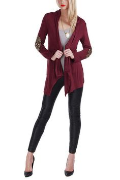 Burgundy Open Front Thin Cardigan with Metallic Glitzy Details Xl Fashion, Love Fashion, New Outfits, Cool Outfits, Cardigans For Women, Sweater Cardigan, Jumper, Skinny Jeans, Scrappy Quilts