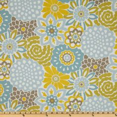 Waverly Button Blooms Spa - Discount Designer Fabric - Fabric.com
