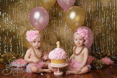 pink gold cake smash