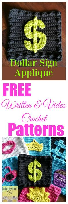 """Free written patterns and video tutorials. """"Like a Boss"""" Blanket Series Crochet Dollar Sign Square Pattern."""