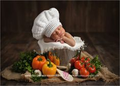 The cutest little chef! This is what you get when two fantastic chef's fall in love... baby chef newborn photos by Melissa Landres Photography La Quinta, CA