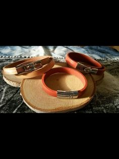 Brown and nude leather bracelets