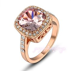 Mytys  Rose Gold CZ square Gem Round Cocktail Engagement prom Ring for Female  R633