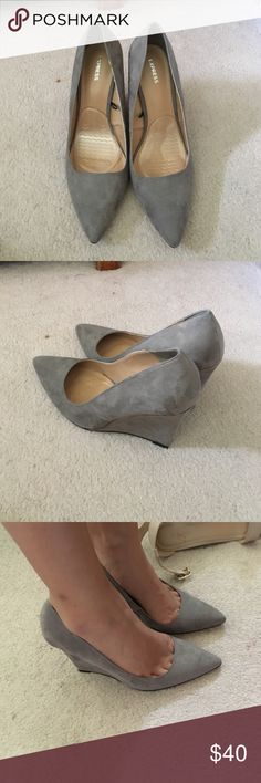 Express grey suede pointy toe wedges Beautiful shoe! Goes well with everything for work. Worn once. Express Shoes Wedges