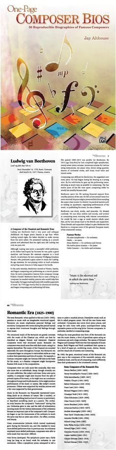 One-Page Composer Bios is a reproducible book containing brief, informative, and interesting one-page biographies of 50 of history's greatest composers. Use these easy-to-read bios as a complete course in composers or music history---studying as many History Education, Music Education, Teaching History, Education System, Health Education, Physical Education, Piano Music, Art Music, Music Decor