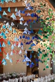 Hanging fabric flowers - a fun DIY wedding decor project with recycled felt or vintage fabric. Origami Wedding, Origami Ball, Wedding Paper, Diy Wedding, Wedding Ideas, Whimsical Wedding, Hanging Origami, Quirky Wedding, Origami Dress