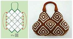 Kostenlose Diagramme für Filet Cross Stitch Crochet Knitting and Embroidery Crotchet Bags, Knitted Bags, Crochet Square Patterns, Crochet Squares, Crochet Handbags, Crochet Purses, Crochet Shell Stitch, Crochet Stitches, Sac Granny Square
