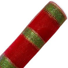 Deco Poly Mesh® Ribbon Red with Lime Green and Gold Laser Foil Metallic Synthetic material, fabric like mesh netting. Bold stripe. Red with lime green bold stripe and thin