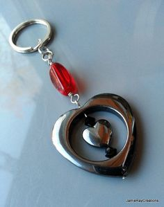 Heart Hematite Keychain - Hematite Heart with Red Glass Bead by JamieRayCreations, $12.00 https://www.etsy.com/listing/177004289/heart-hematite-keychain-hematite-heart?#