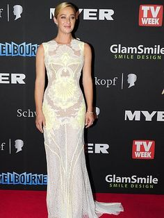 Asher Keddie - photo does no justice, but love the neon yellow thru the lace white