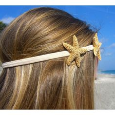 Starfish Headband with Two Sugar Starfish-Tan-Hippy Chic, Beach Hair,... ❤ liked on Polyvore
