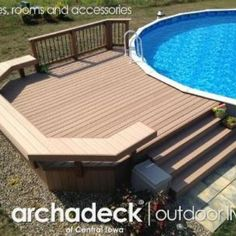 This pool deck south of Des Moines provides nice access to and seating around this rural Indianola above- ground pool.  Low maintenance convenience, too, with TimberTech's Twin Finish composite decking and rail.  A great space to escape the heat and enjoy the outdoors! Play cool with pool decks by Des Moines' premier outdoor living space designer and builder, Archadeck of Central Iowa.