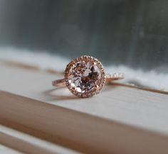 2.87ct round Peach Champagne sapphire diamond ring 14k rose gold. $3,250.00, via Etsy.