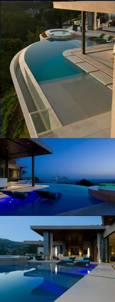 The incredible curving pool at 1525 Blue Jay Way in Los Angeles overlooks the city.
