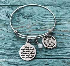 I Close My Eyes And Speak To You Loss Of Baby Miscarriage Silver Bracelet Charm Jewelry Memorial Mom Dad Gifts
