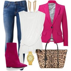 """""""hot pink/white/leopard casual outfit idea with jeans"""" things to wear"""