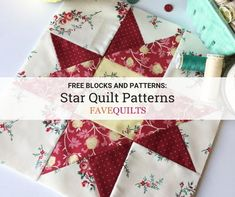 35 Free Star Quilt Patterns: Free Block Designs and Quilt Ideas Jelly Roll Quilt Patterns, Star Quilt Patterns, Pattern Blocks, Canvas Patterns, Quilting Templates, Quilting Tutorials, Quilting Designs, Quilting Tips, Log Cabin Quilt Pattern