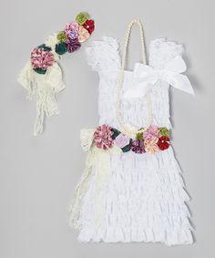 Look at this #zulilyfind! White Lace Flower Dress Set - Toddler & Girls by Royal Gem #zulilyfinds. $23.99