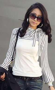 Women's Casual Turtle Neck black & white Striped Top Long sleeve T shirt #8002