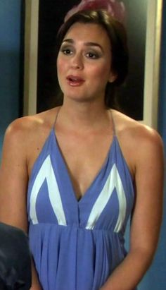 Blair Waldorf's Blue and White Nightgown from Gossip Girl: The Big Sleep No More #ShopTheShows #curvio