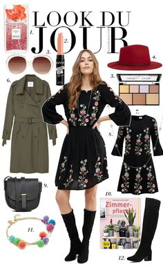 Look Du Jour: Stroboooo!!! Black floral dress+black suede midi boots+olive green trenchcoat+balack crossbody bag+red hat+sunglasses. Winter To Spring Dressy Casual Outfit 2017
