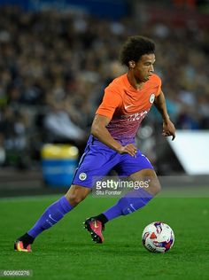 Leroy Sane of Manchester City in action during the EFL Cup Third Round match between Swansea City and Manchester City at the Liberty Stadium on...