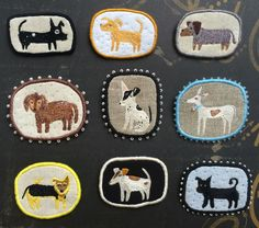 """Pet Brooches """"Funny Dogs Collection"""" -  hand embroidered textile jewelry https://www.facebook.com/makiko.at  #embroidery #makiko #brooch"""