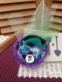 Purple Girls Hairclip with Button Tulle Detail by ShovelandSpade