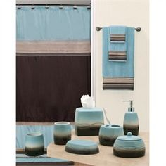 Blue And Brown Bathroom Bath Shower Curtain And Bath Rug Set - Blue and brown bath rugs for bathroom decorating ideas