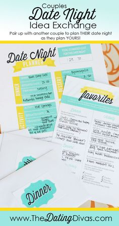 Couples Date Night Idea Exchange Idea! Both couples plan out a complete date night using the free printables then switch plans! A great way to try something new and maybe find new traditions! #dateideas