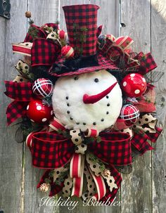 A personal favorite from my Etsy shop https://www.etsy.com/listing/559379738/buffalo-plaid-snowman-wreath-snowman