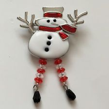 Silver tone enameled with rhinestones SNOWMAN shape pin brooch with d... Lot 272