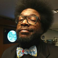 "FROM  @okaygingerlynn Whenever I'm mad it's ""angry smurf,"" if my shirt's not tucked in I'm ""sloppy smurf,"" if I'm running around on a hot day I might get ""sweaty smurf."" Never seen a more perfect bow tie for you afrosmurf @questlove  Visit www.wonderlee123.com #bowties #wonderlee #smurfs #dontgetcaughtnecked"