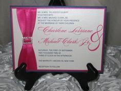 The Charlene - Hot Pink & Navy Blue Wedding Invitation Set via Etsy.