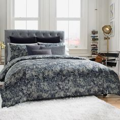 Bedding Idea. Its another pattern but its small enough that it would add interest while at the same time not making the room look to busy.  Kenneth Cole Reaction Home Moon Mist Comforter - BedBathandBeyond.com