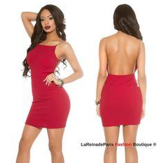 e1a71ff453 Comprar Vestido de espalda descubierta y cadenas online Vestidos ajustados  cortos lareinadeparis