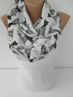 Cat Scarf Infinity Scarf Halloween Loop Scarf Circle Scarf Fall Winter Fashion Scarf Womens Fashion Accessories Gift Idea For Her SCARFCLUB