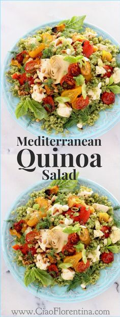 Mediterranean Quinoa Salad dressed in basil pesto and loaded with roasted tomatoes, marinated peppers and artichokes | CiaoFlorentina.com @CiaoFlorentina