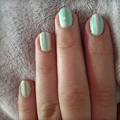 Mint nail design #spring #mint #nailart #dots #stripes #gellack