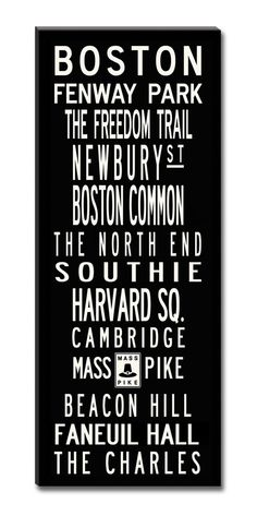 Boston Textual Art Giclee Printed on Canvas