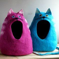 Cat bed/ cat cave/ cat house/ Felted cat house Cat от VaivaIndre