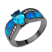 2015 New Rings Fashion Jewelry Oval Fire Opal Ring Black Gold Filled Mens Antique Elegant Jewelry Anello Uomo RB0310(China (Mainland))