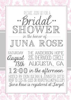 Vintage Damask Bridal Shower Invitation