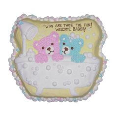 Rub-a-dub-dub Cake - This baby shower cake takes a literal interpretation! The cutest pair of baby bears are bathed with bubbles as your guests shower them with warm wishes.