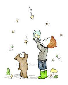 Impresión del arte de los niños arte - captura de estrellas--