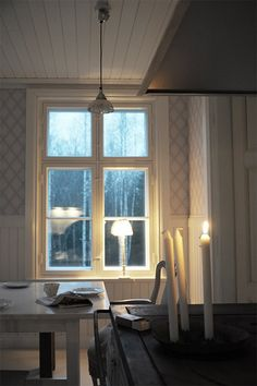 Leave a light on Cottage Windows, Scandi Home, Metal Wall Art Decor, Old Cottage, Cabin Kitchens, Swedish House, Slow Living, Rustic Kitchen, Living Spaces