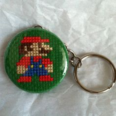 MARIO  Super Mario Bros Cross Stitch Button by GeekyButtonGuy, $12.00