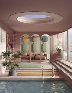 "Peter Tarka's art piece: Chilling at the pool. 𝐂𝐡𝐞𝐜𝐤 𝐨𝐮𝐭 𝐨𝐮𝐫 𝐛𝐨𝐚𝐫𝐝 ""𝐆𝐫𝐚𝐩𝐡𝐢𝐜 𝐃𝐞𝐬𝐢𝐠𝐧"" 𝐟𝐨𝐫 𝐦𝐮𝐜𝐡 𝐦𝐨𝐫𝐞 𝐈𝐍𝐒𝐏𝐈𝐑𝐀𝐓𝐈𝐎𝐍! Dream Home Design, My Dream Home, House Design, Design Set, Urban Design, Retro Interior Design, Interior Design Magazine, Interior Design Renderings, Interior Rendering"