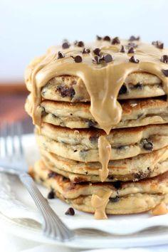 Peanut Butter Chocolate Chip Pancakes from (Butter Substitute For Waffles) Peanut Butter Pancakes, Chocolate Chip Pancakes, Tasty Pancakes, Peanut Butter Recipes, Chocolate Peanut Butter, Breakfast Pancakes, Chocolate Chocolate, Oreo Pancakes, Perfect Pancake Recipe